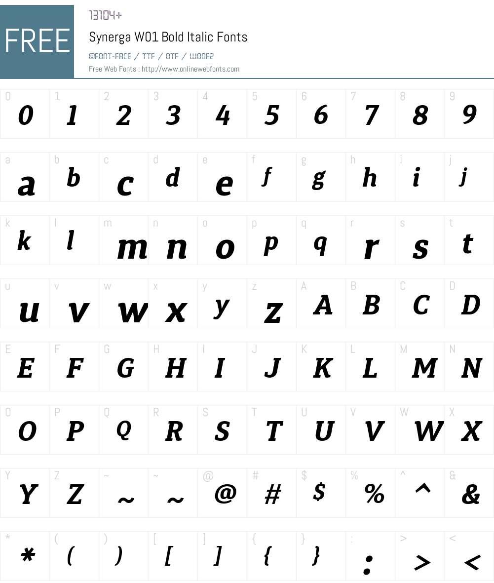 SynergaW01-BoldItalic Font Screenshots