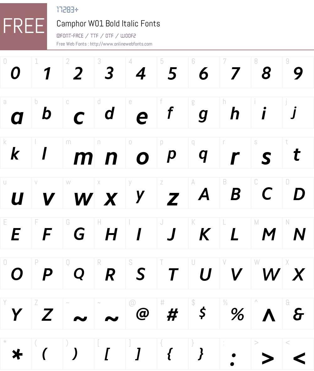 CamphorW01-BoldItalic Font Screenshots