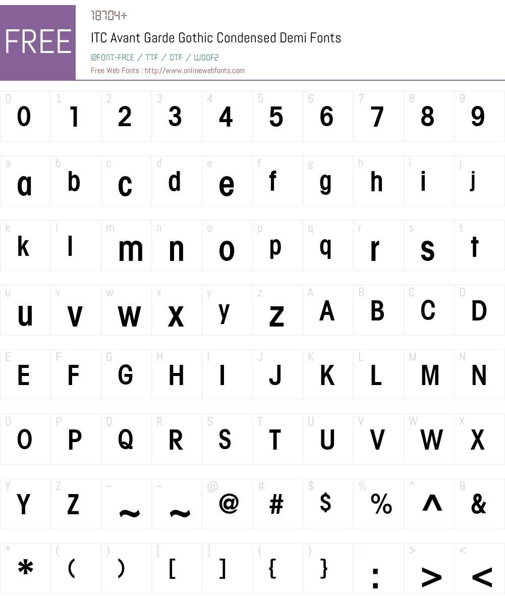 ITC Avant Garde Gothic Font Screenshots
