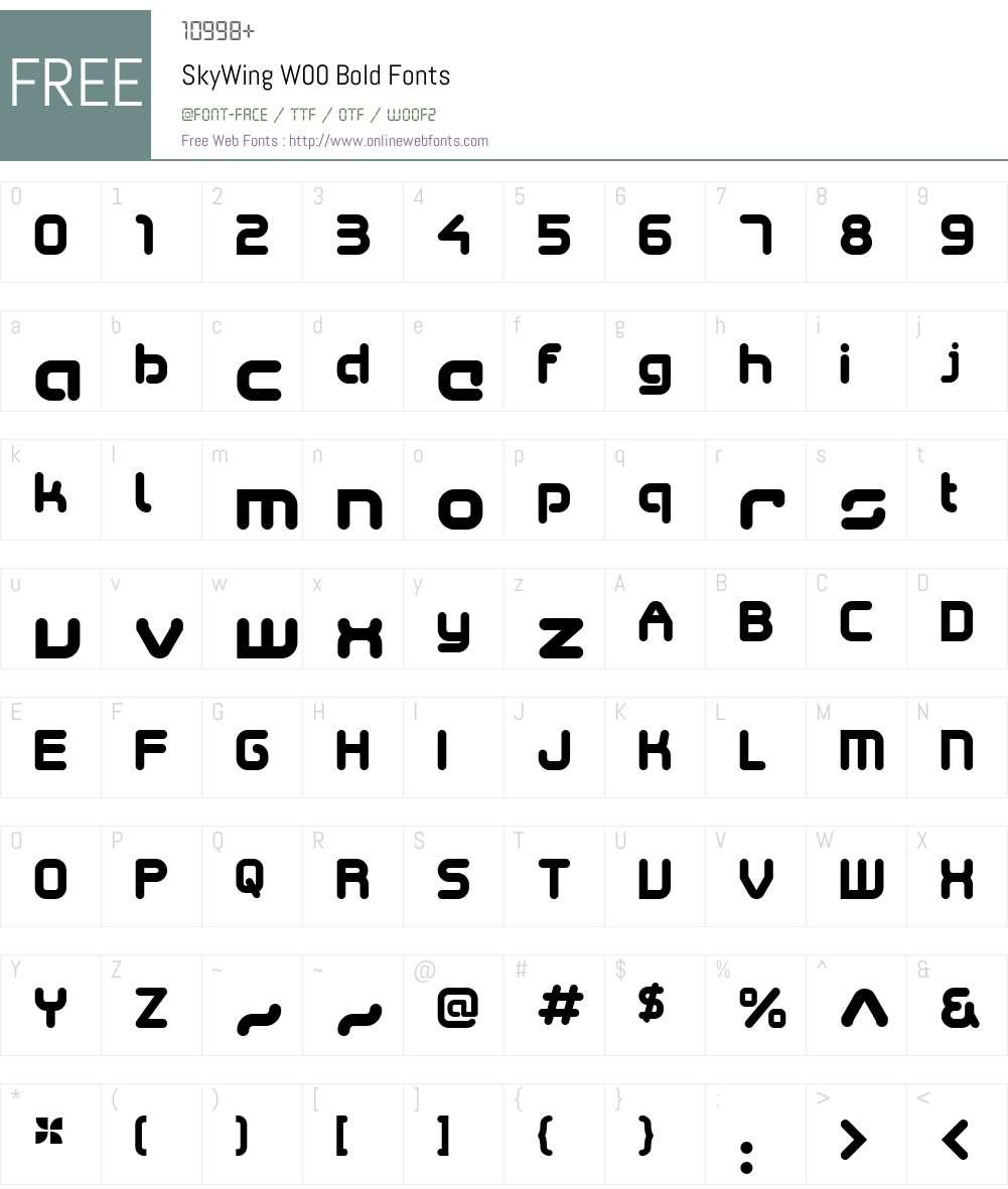 SkyWingW00-Bold Font Screenshots