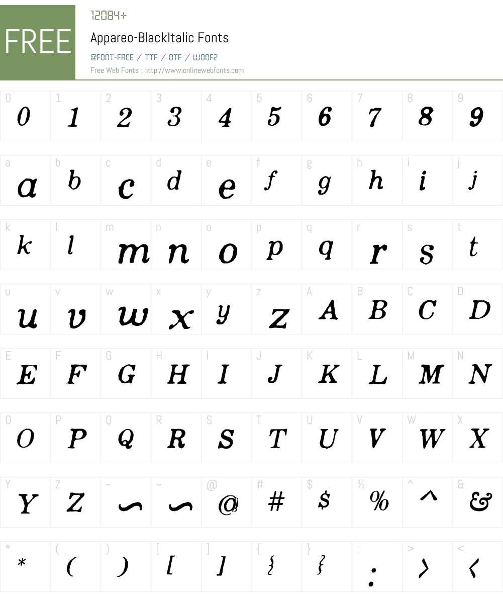 Appareo-BlackItalic Font Screenshots