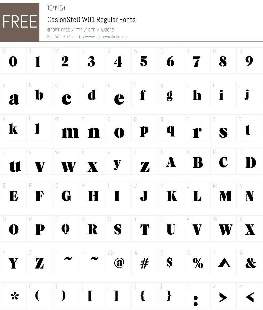 Caslon Stencil Font Screenshots