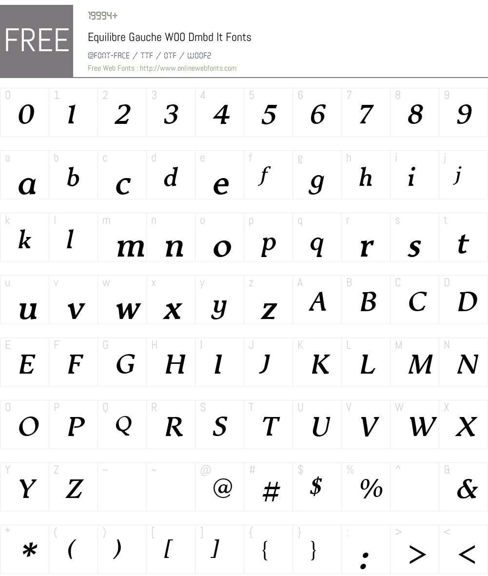 EquilibreGaucheW00-DmbdIt Font Screenshots