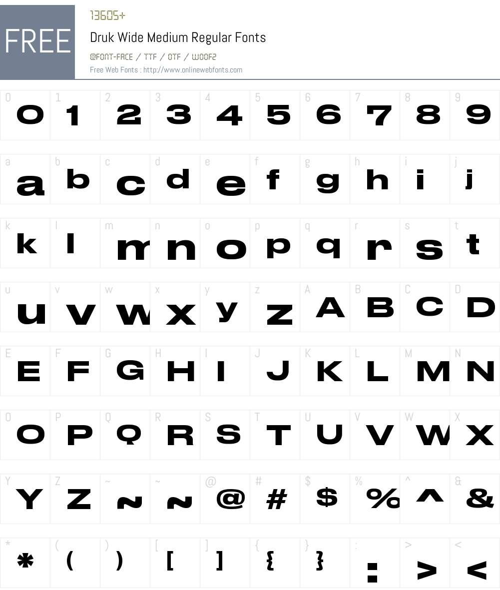 Druk Wide Medium Font Screenshots