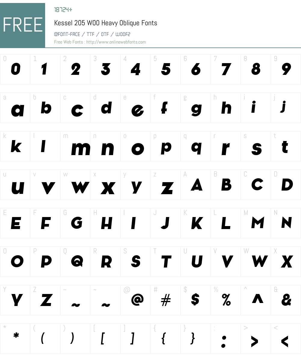Kessel205W00-HeavyOblique Font Screenshots