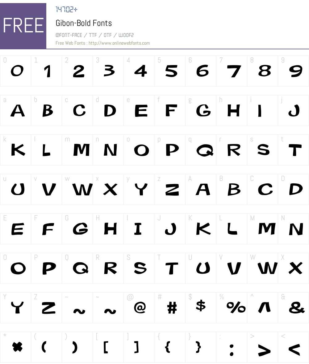 Gibon-Bold Font Screenshots