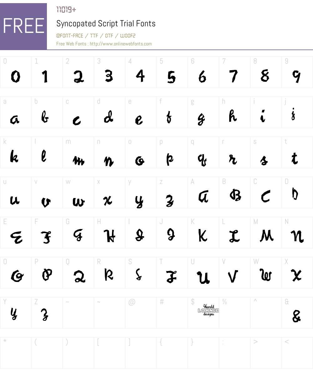Syncopated Script Font Screenshots