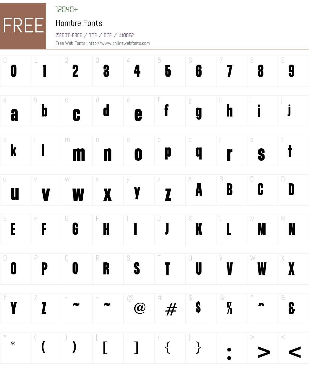 Hombre Font Screenshots