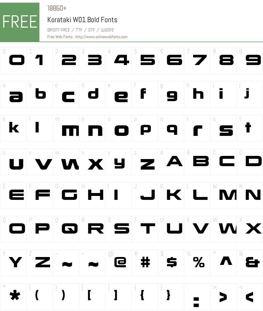 KoratakiW01-Bold Font Screenshots