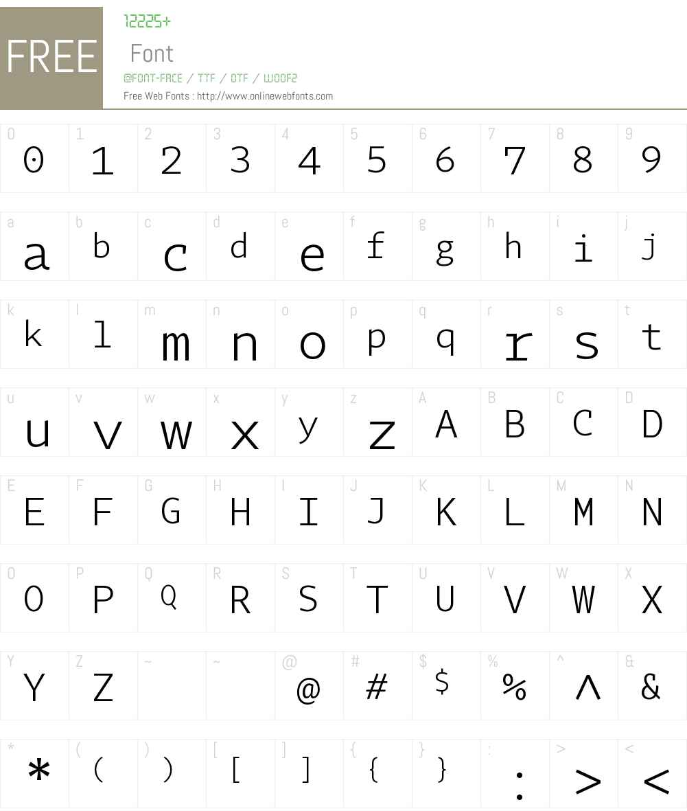 Tabac Mono Light Font Screenshots