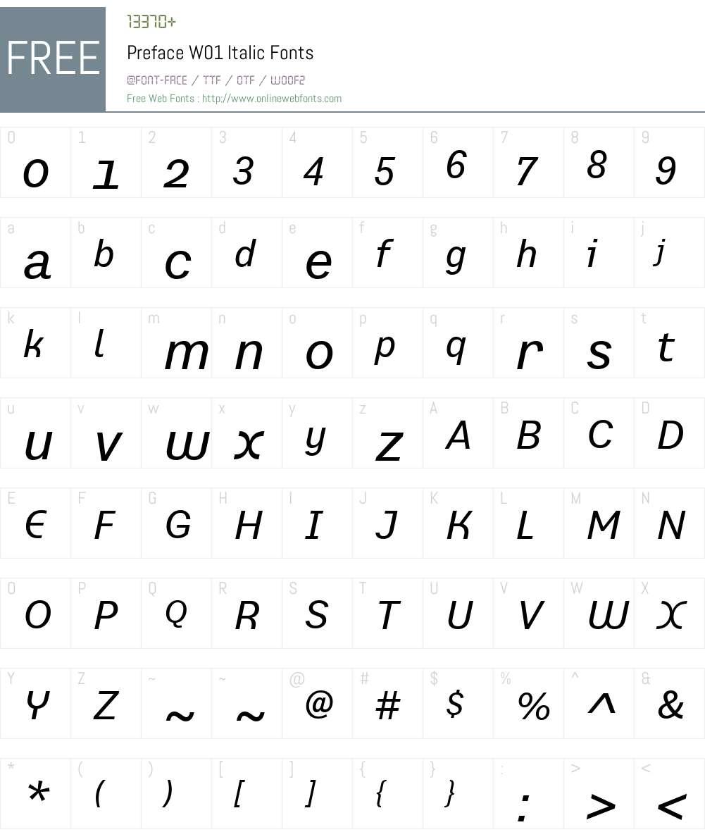 PrefaceW01-Italic Font Screenshots