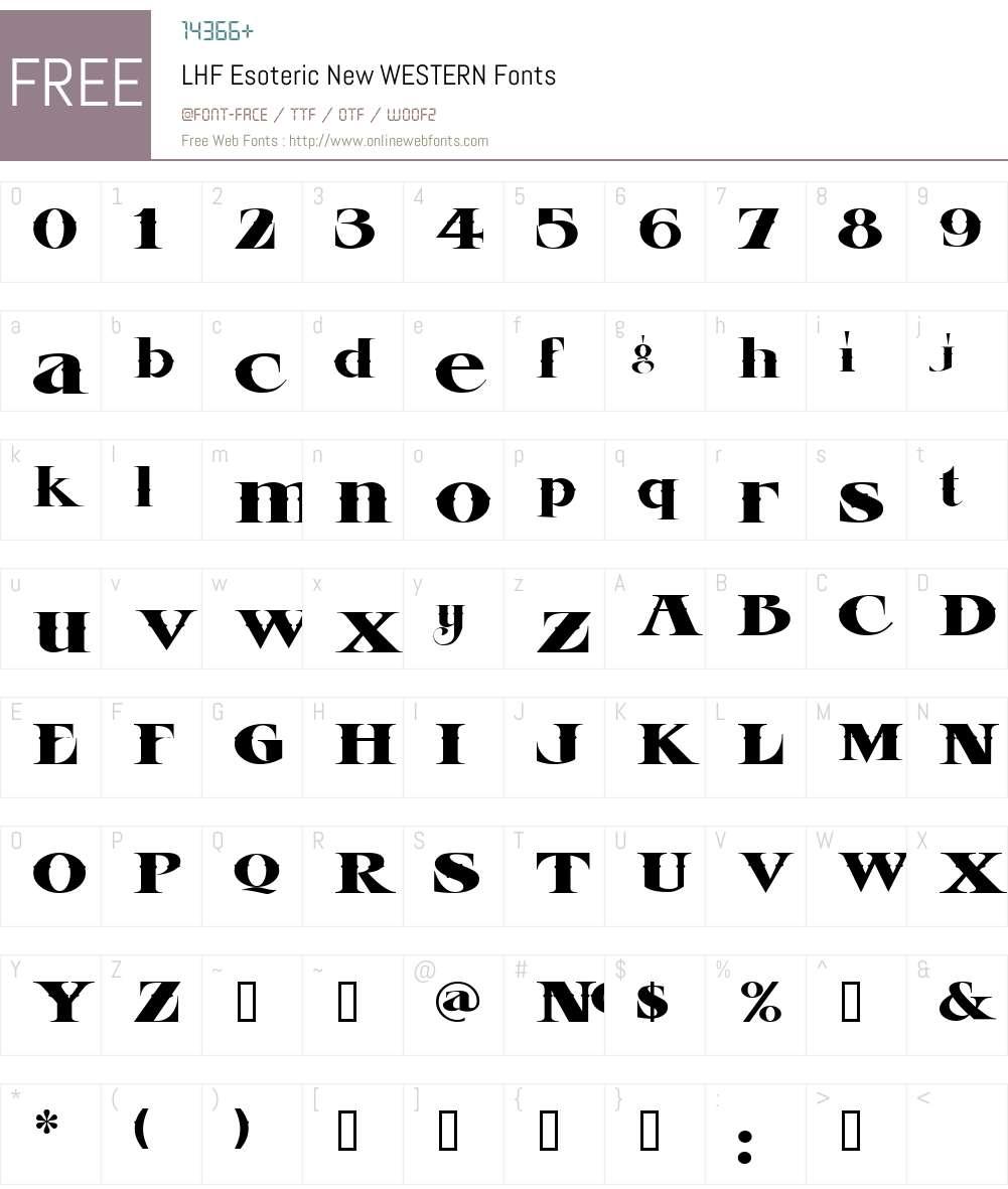 LHF Esoteric New WESTERN Font Screenshots