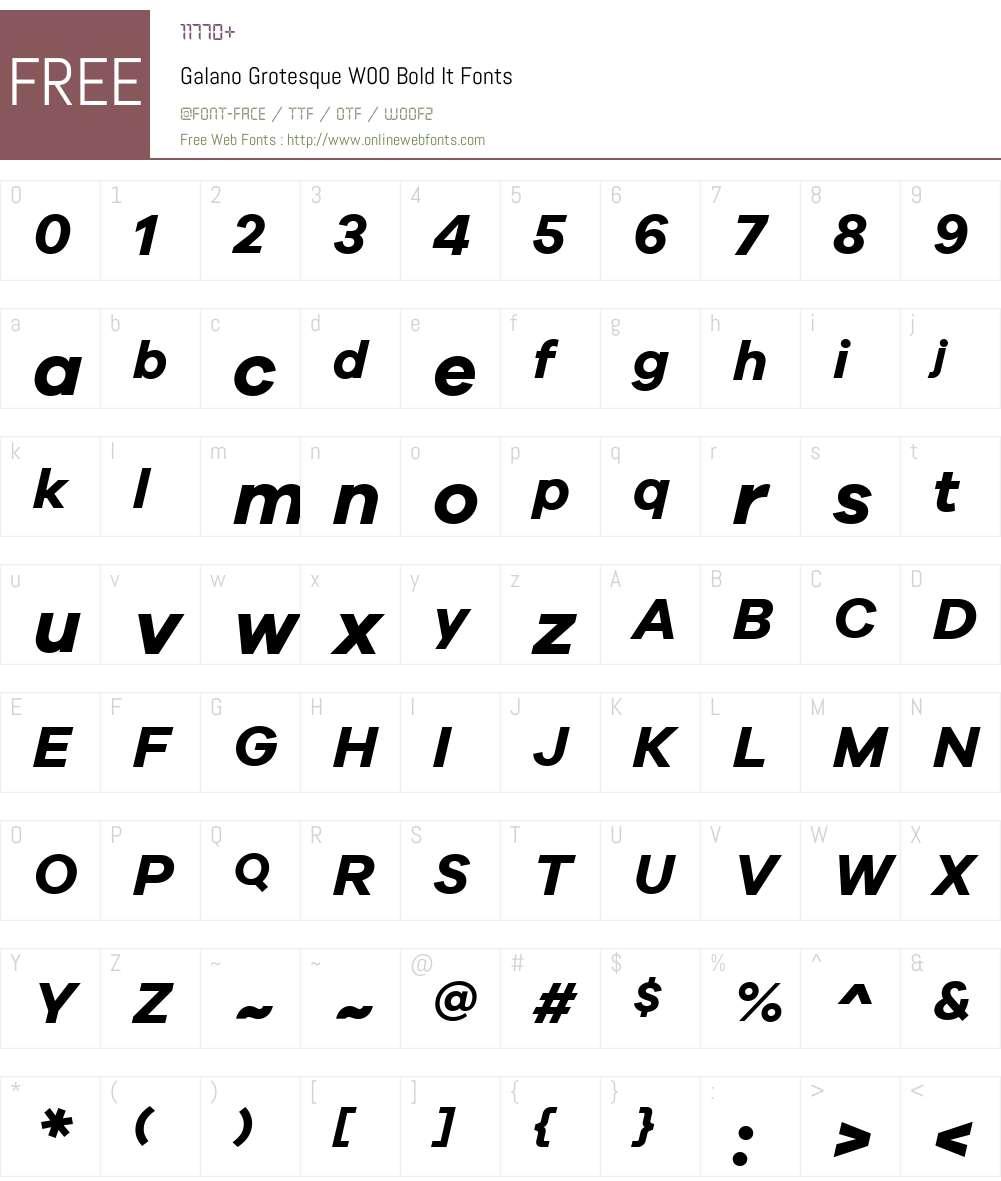 GalanoGrotesqueW00-BoldIt Font Screenshots