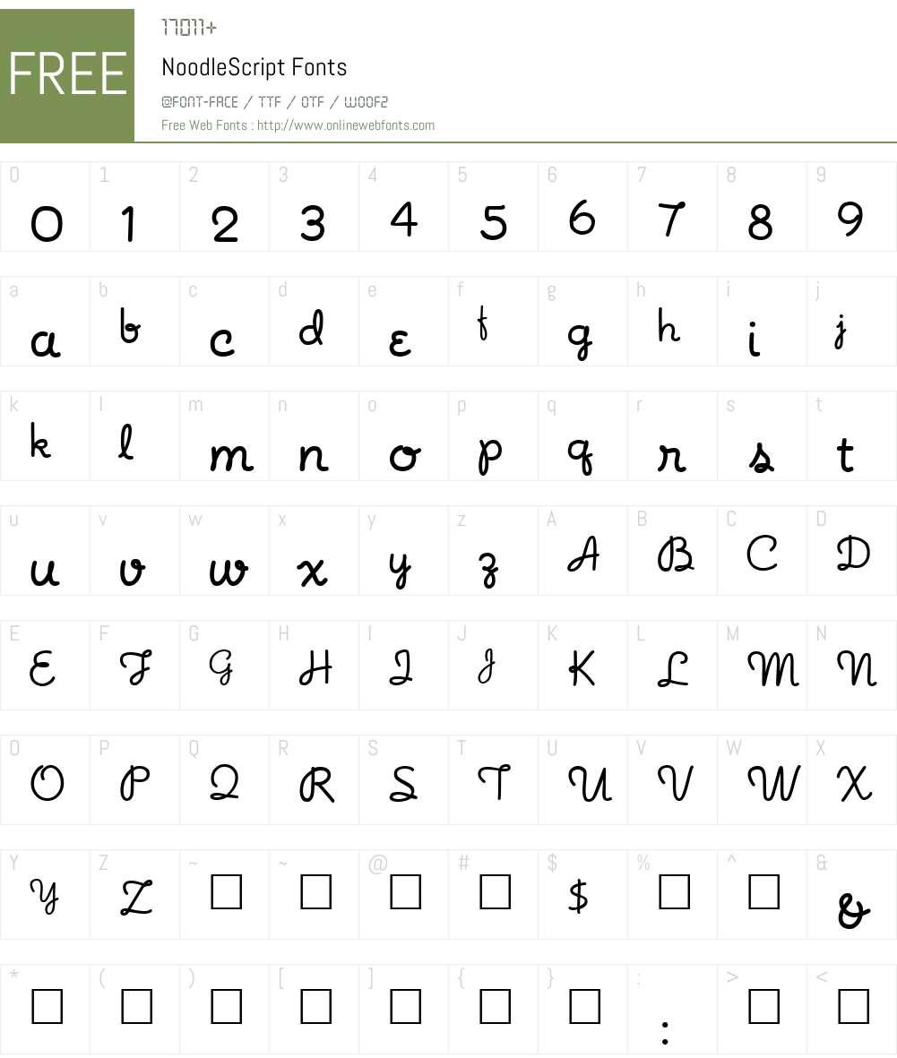 NoodleScript Font Screenshots