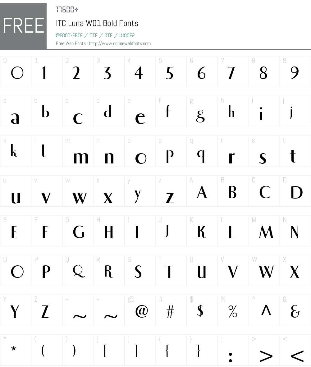 ITCLunaW01-Bold Font Screenshots