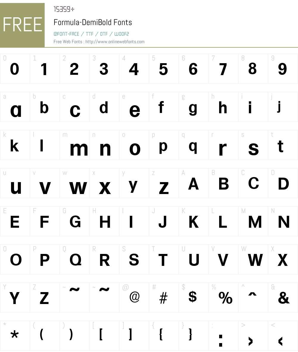 Formula-DemiBold Font Screenshots