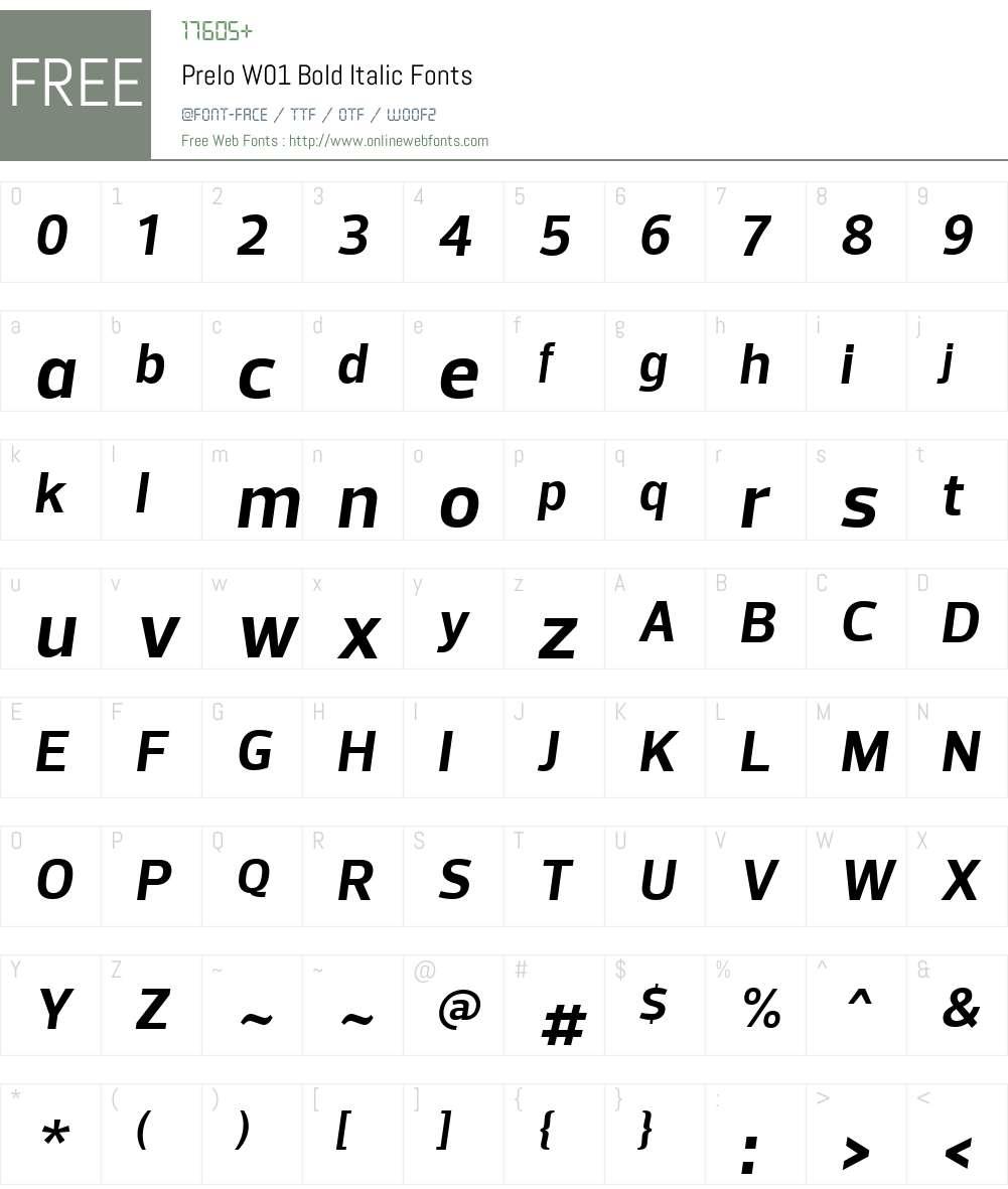 PreloW01-BoldItalic Font Screenshots