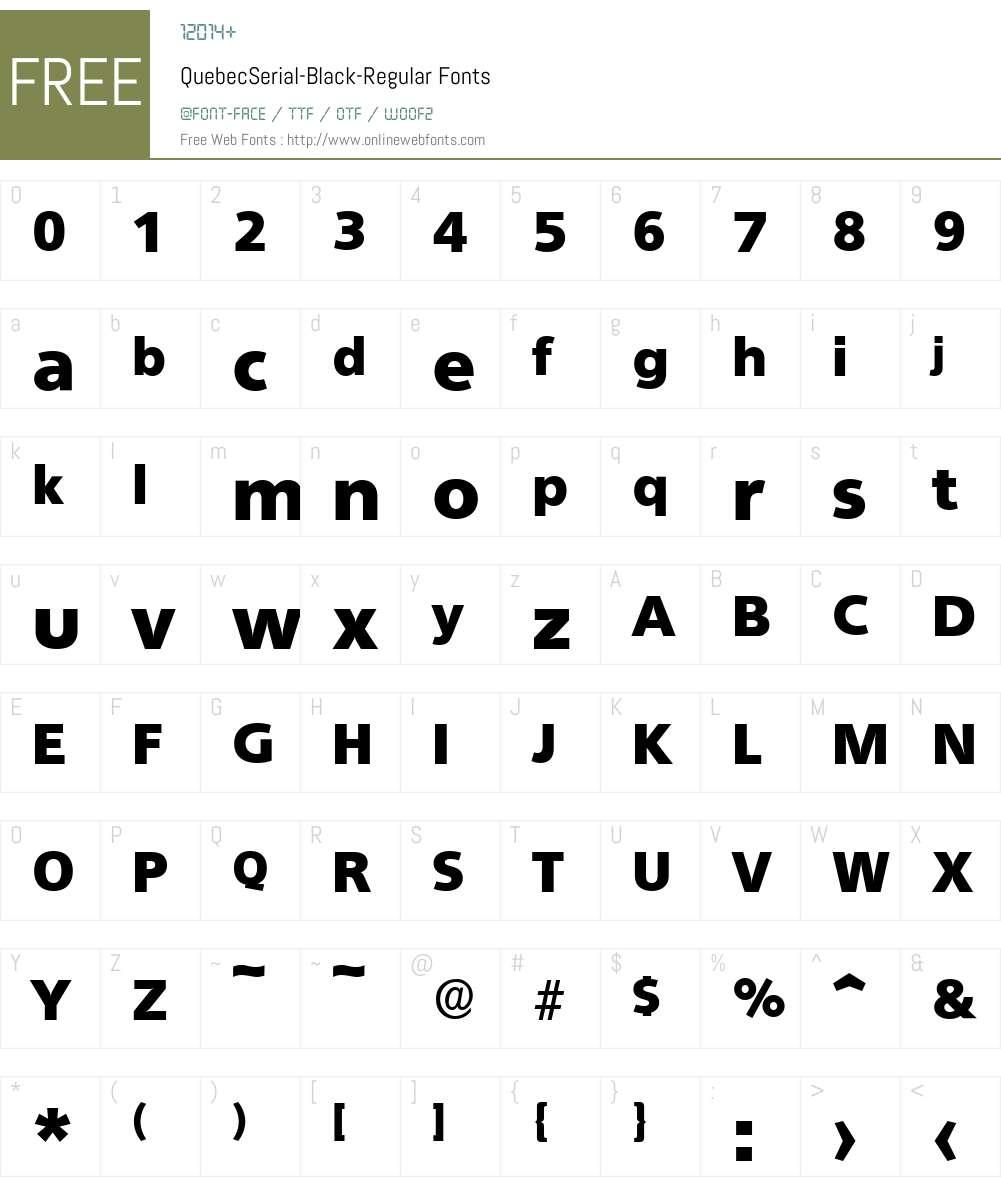 QuebecSerial-Black Font Screenshots