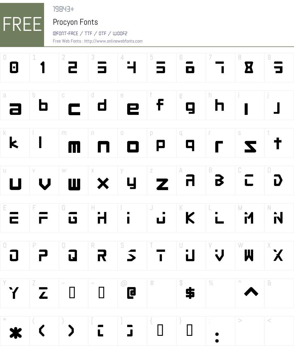 Procyon Font Screenshots