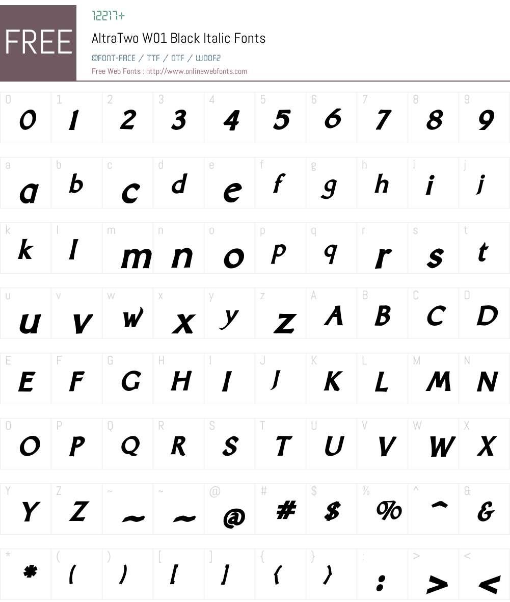 AltraTwoW01-BlackItalic Font Screenshots
