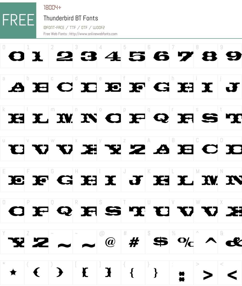 Thunderbird BT Font Screenshots