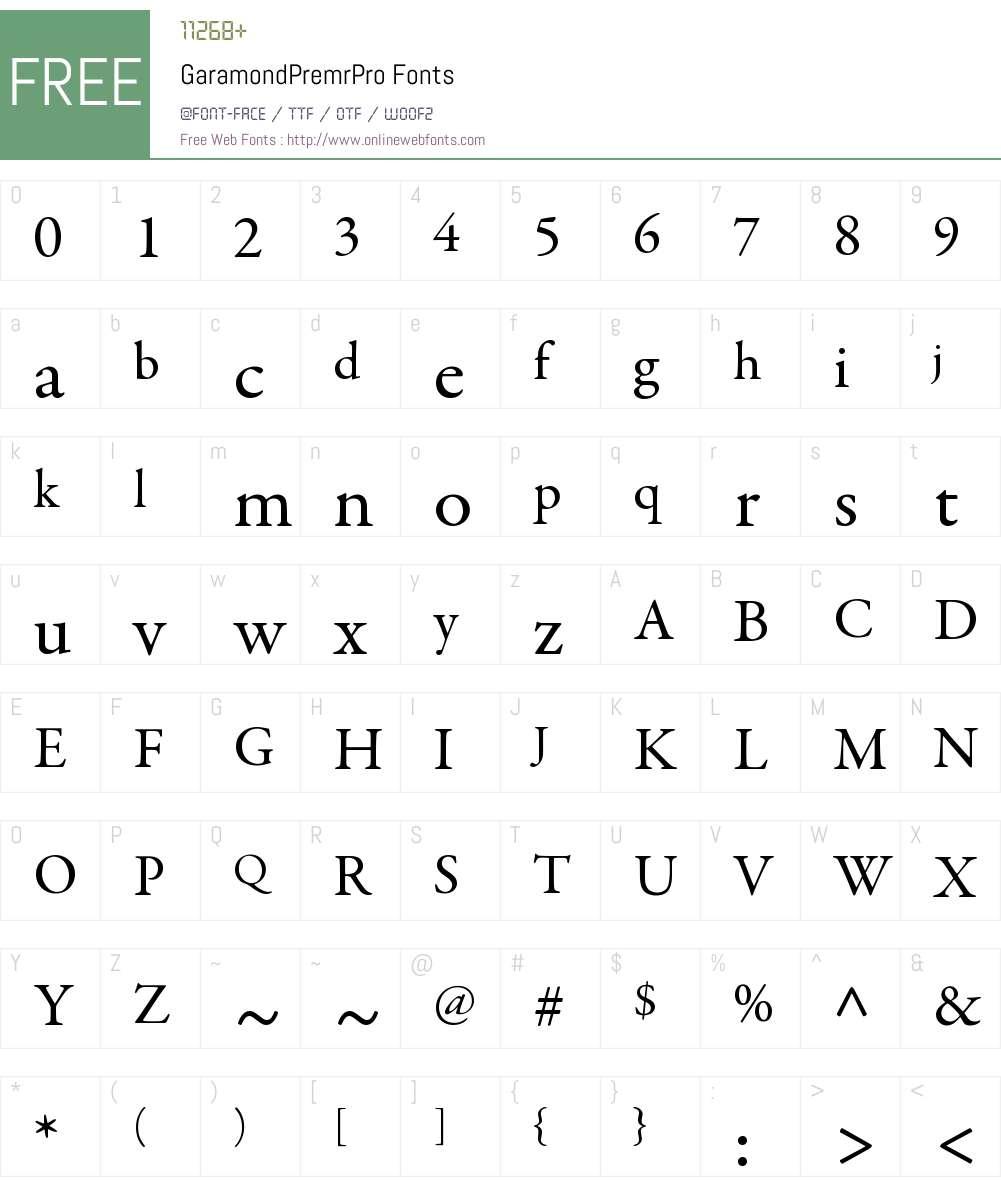 Garamond Premr Pro Font Screenshots