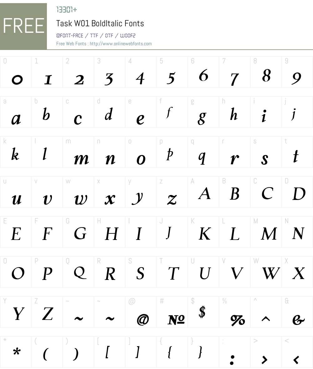 TaskW01-BoldItalic Font Screenshots