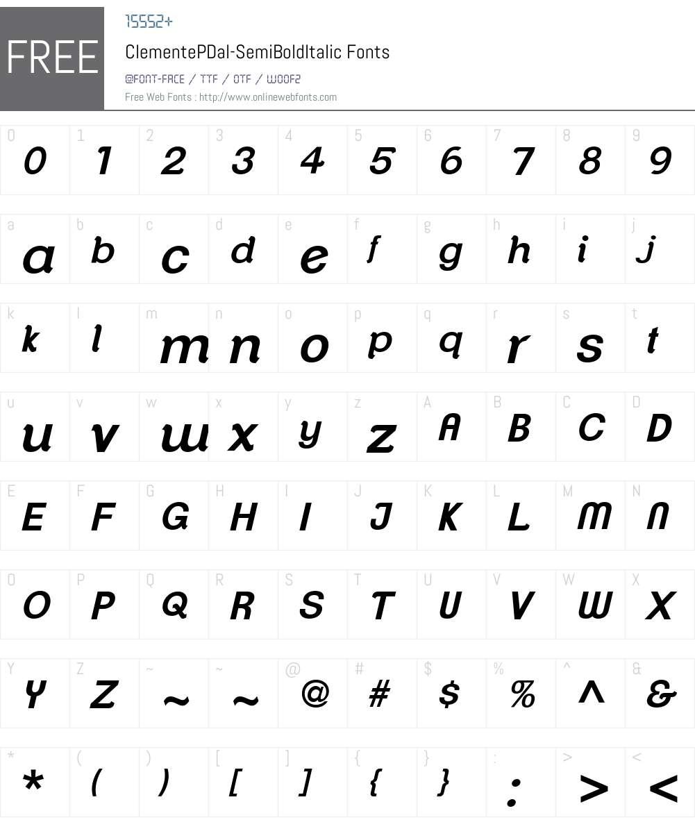 ClementePDal Font Screenshots