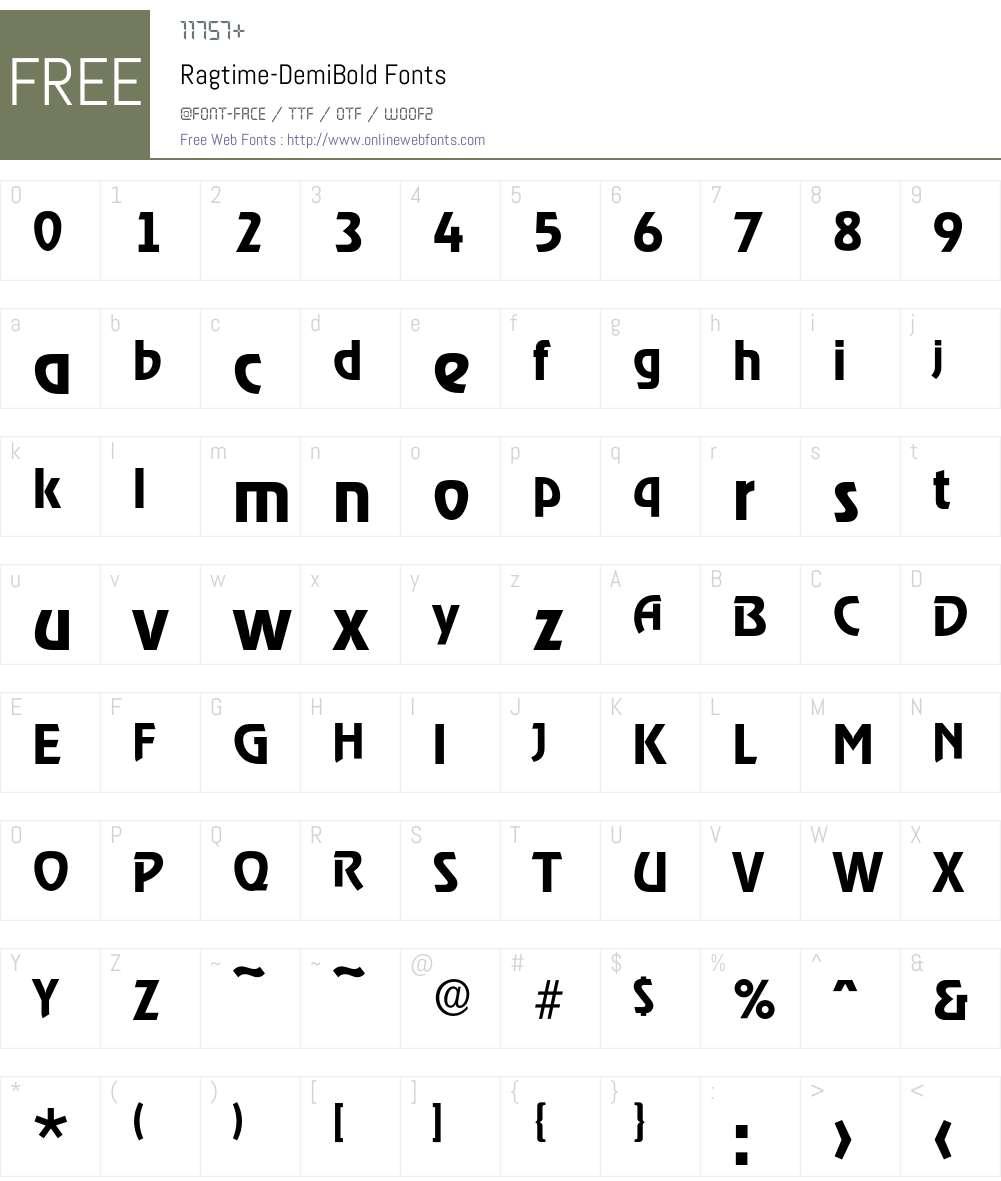Ragtime-DemiBold Font Screenshots