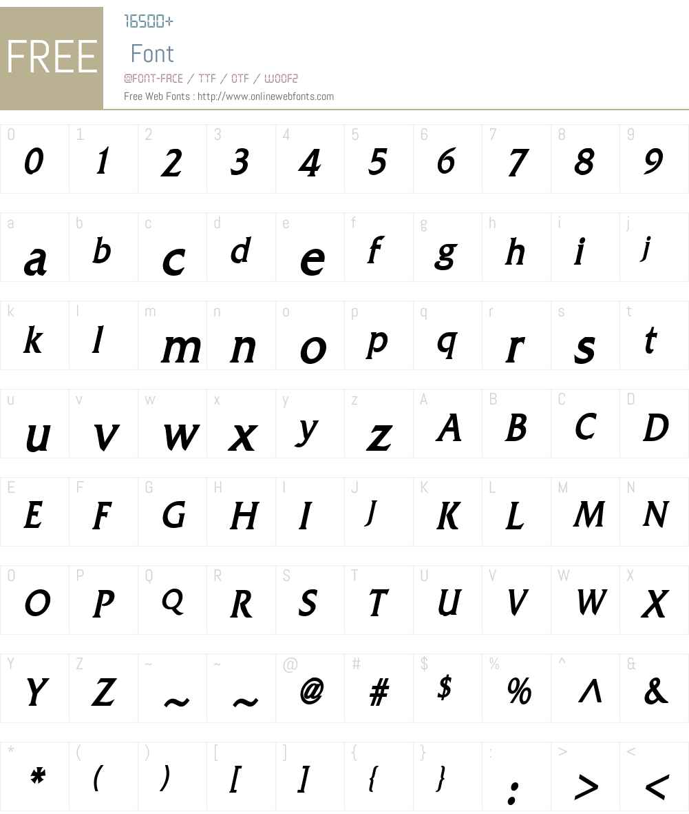 Franco Condensed Font Screenshots