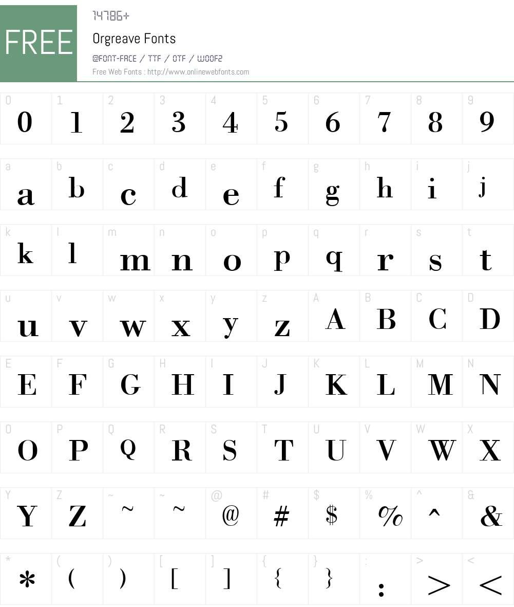 Orgreave Font Screenshots