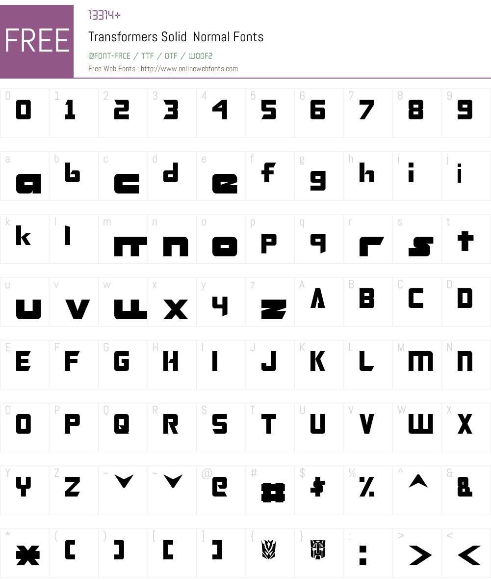 Transformers Solid Font Screenshots