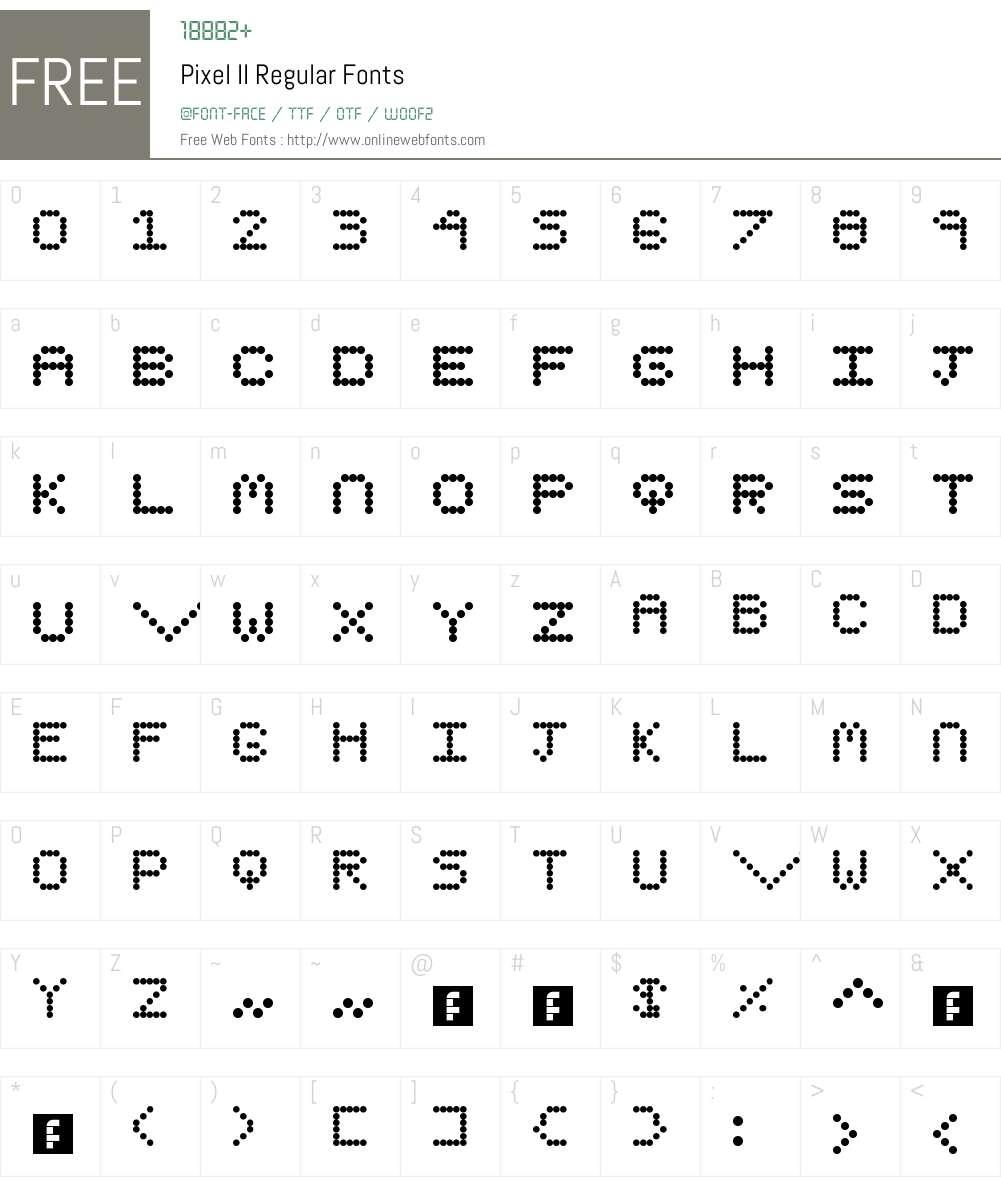 Pixel II Font Screenshots
