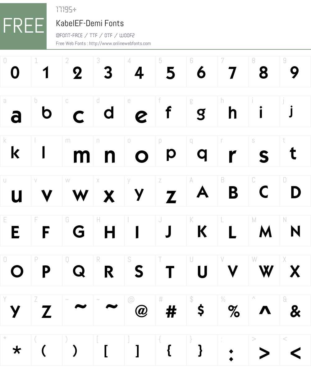 KabelEF-Demi Font Screenshots