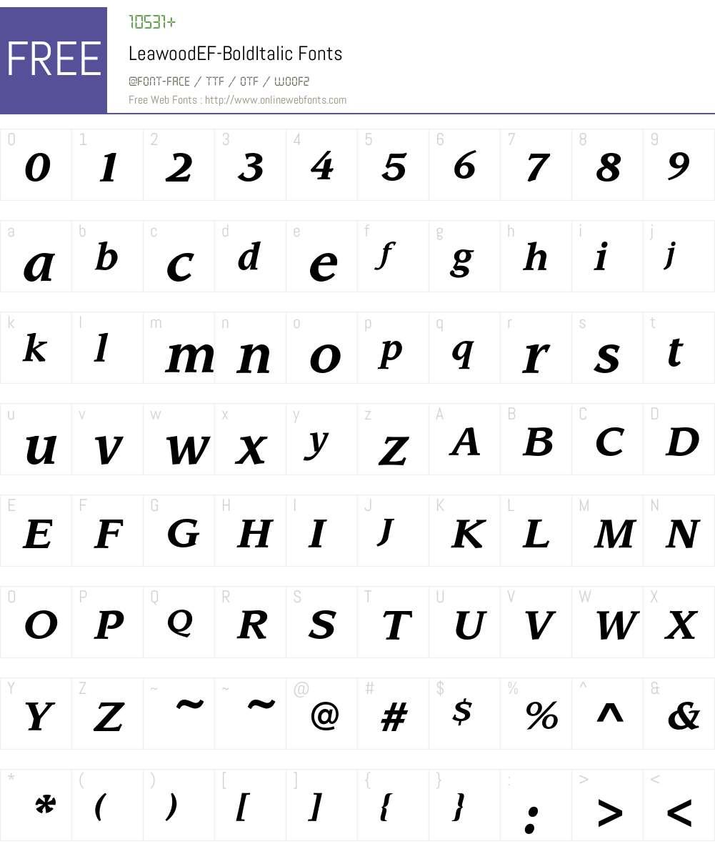 LeawoodEF-BoldItalic Font Screenshots