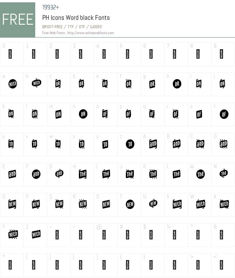 PH-IconsWordblack Font Screenshots