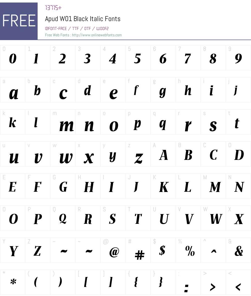 ApudW01-BlackItalic Font Screenshots