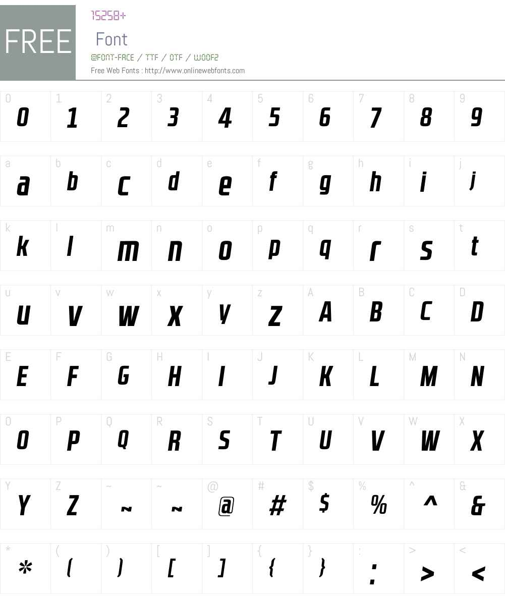 RBNo2.1bW00-BoldItalic Font Screenshots