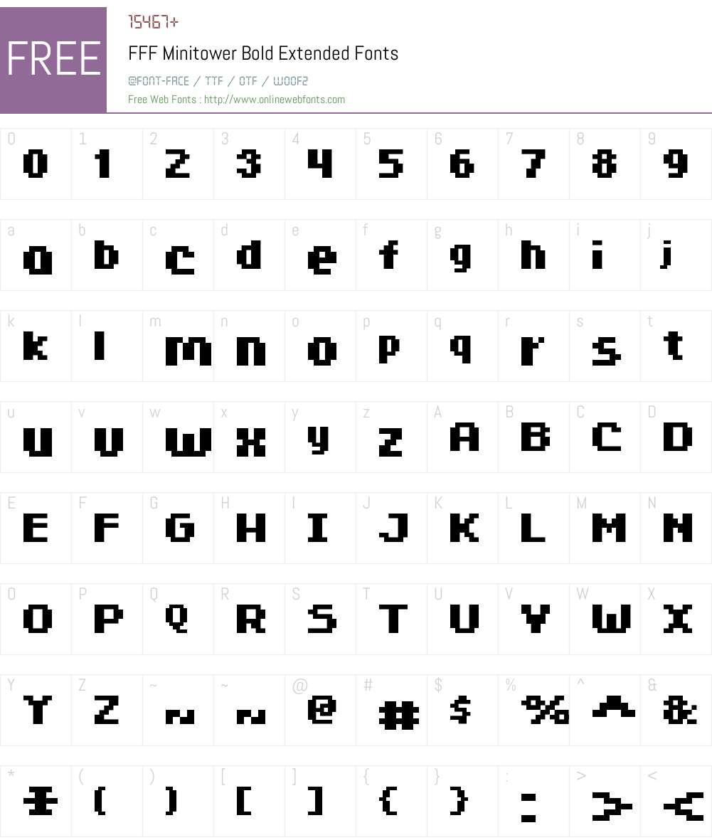 FFF Minitower Bold Extended Font Screenshots