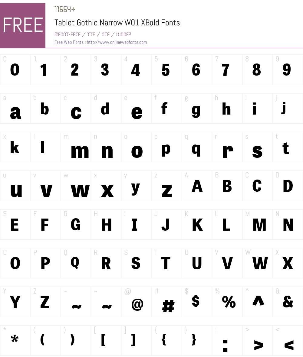 TabletGothicNarrowW01-XBold Font Screenshots