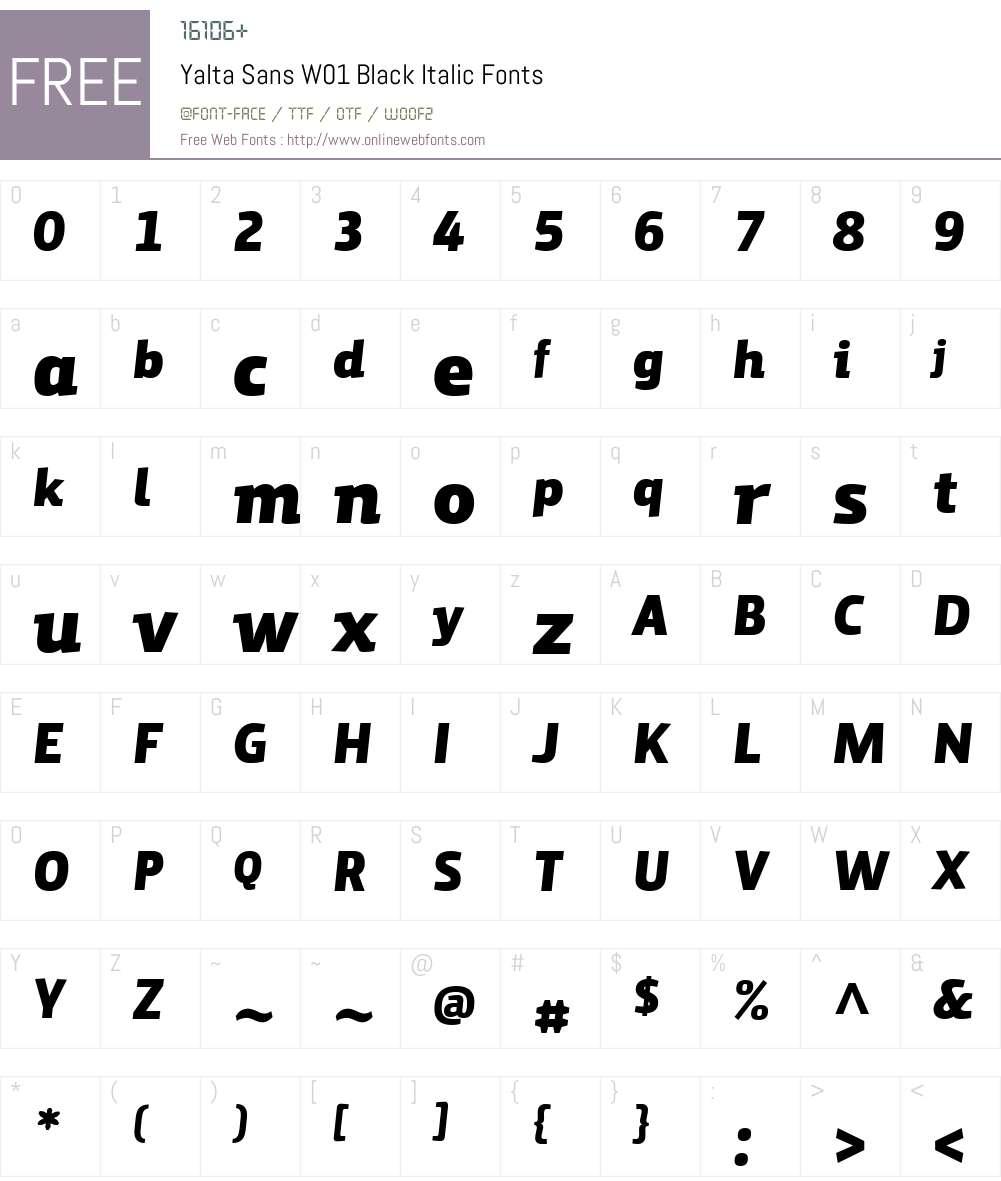 YaltaSansW01-BlackItalic Font Screenshots