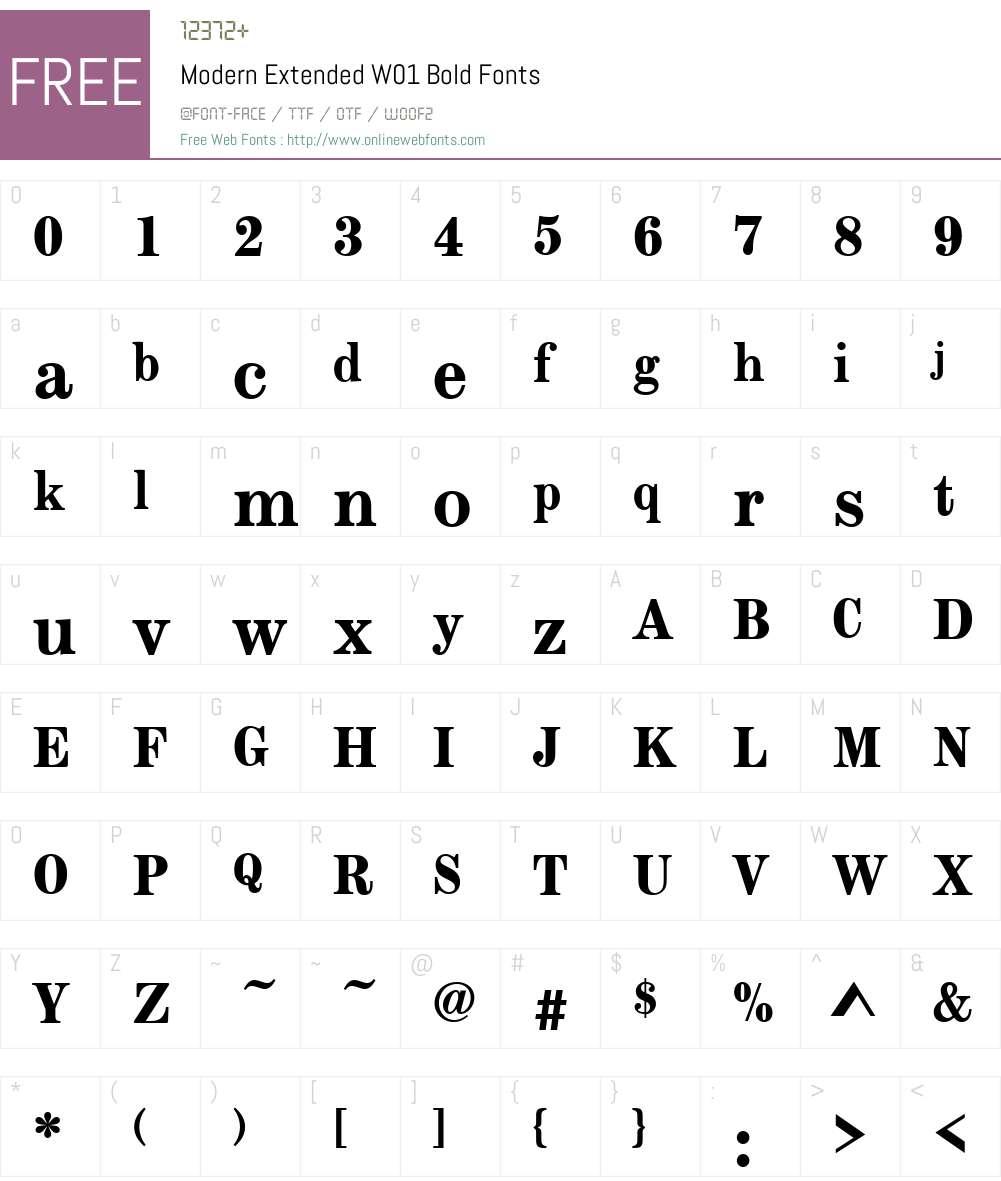 ModernExtendedW01-Bold Font Screenshots