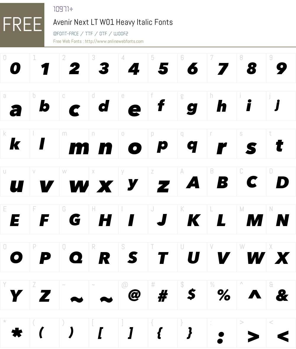 AvenirNextLTW01-HeavyItalic Font Screenshots