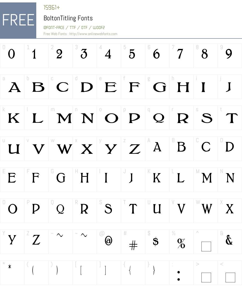 BoltonTitling Font Screenshots