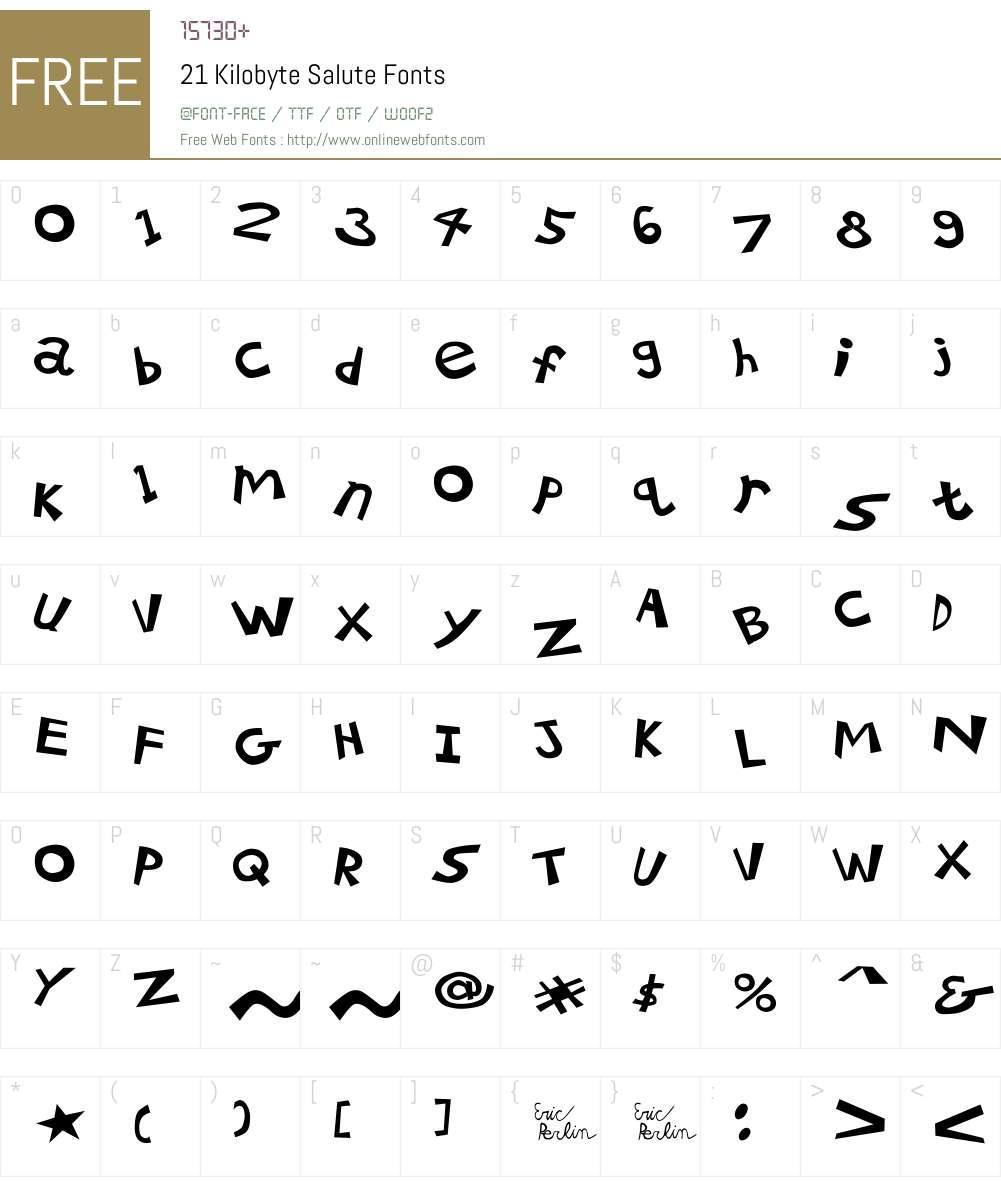 21 Kilobyte Salute Font Screenshots