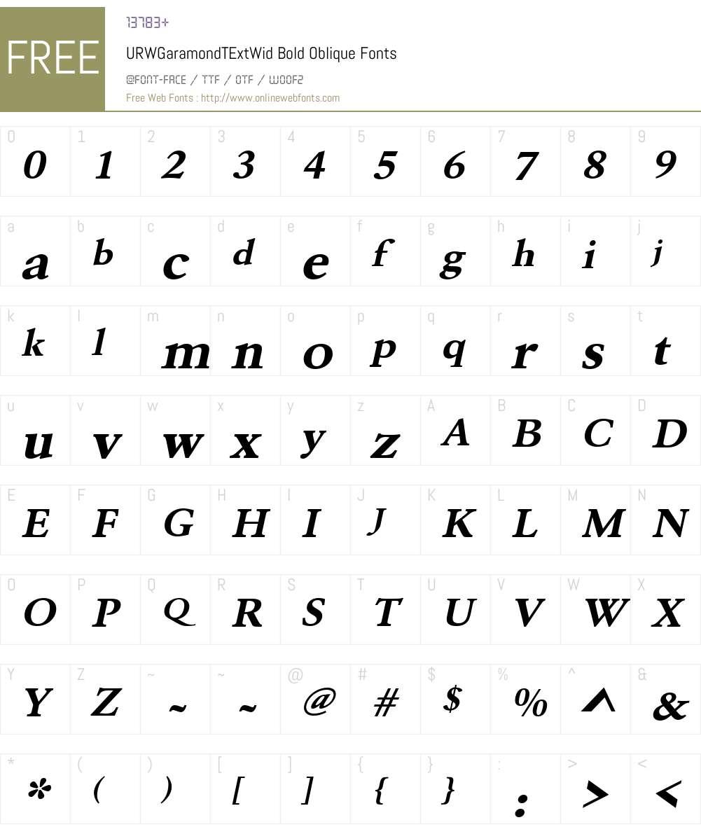 URWGaramondTExtWid Font Screenshots