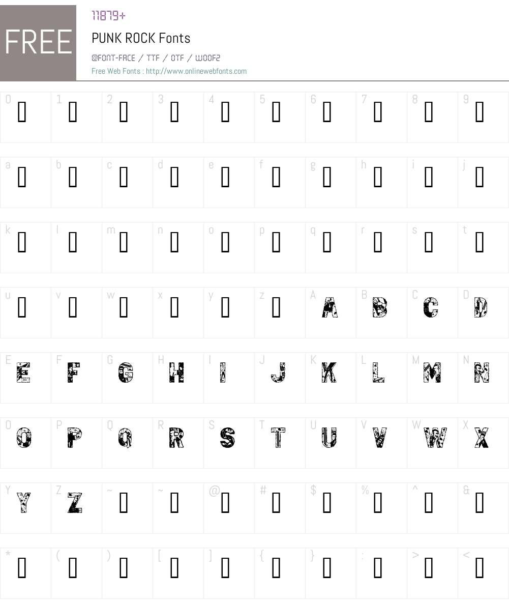 PUNK ROCK Font Screenshots