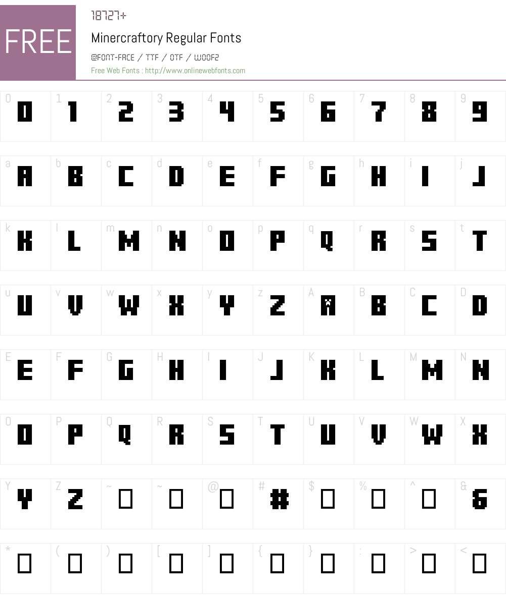 Minercraftory Font Screenshots