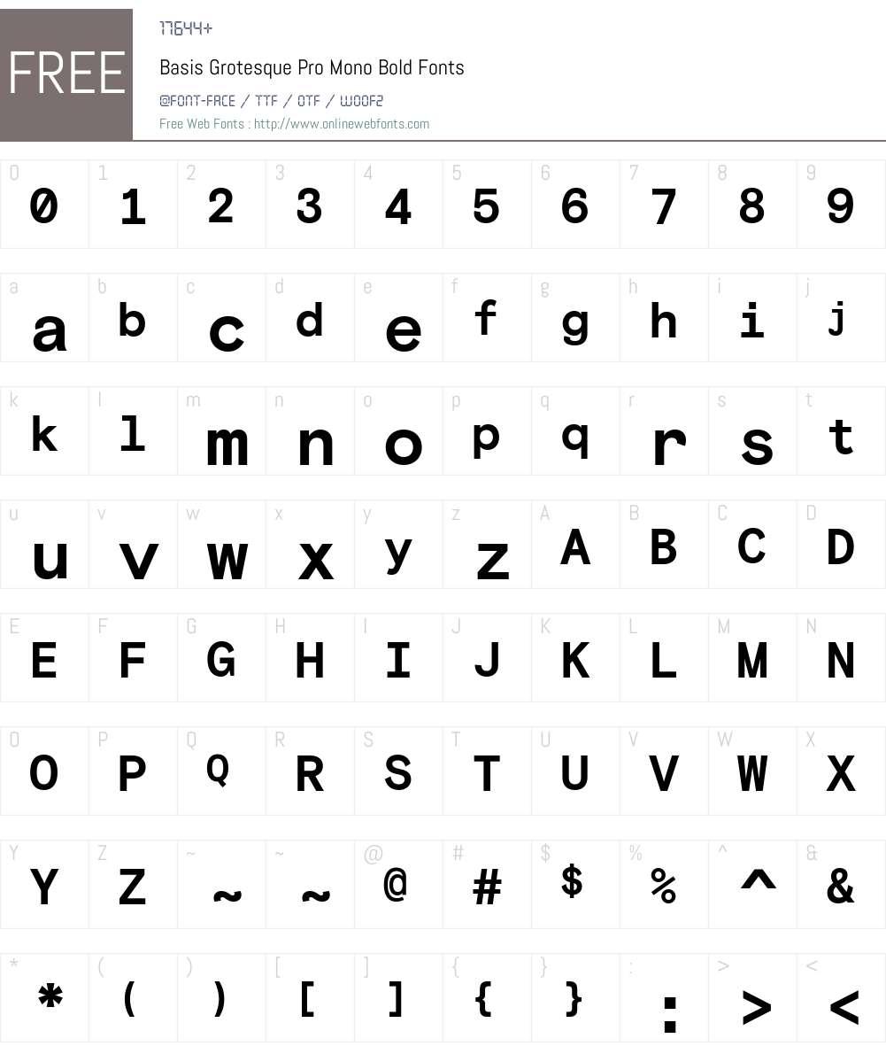 Basis Grotesque Pro Mono Bold Font Screenshots