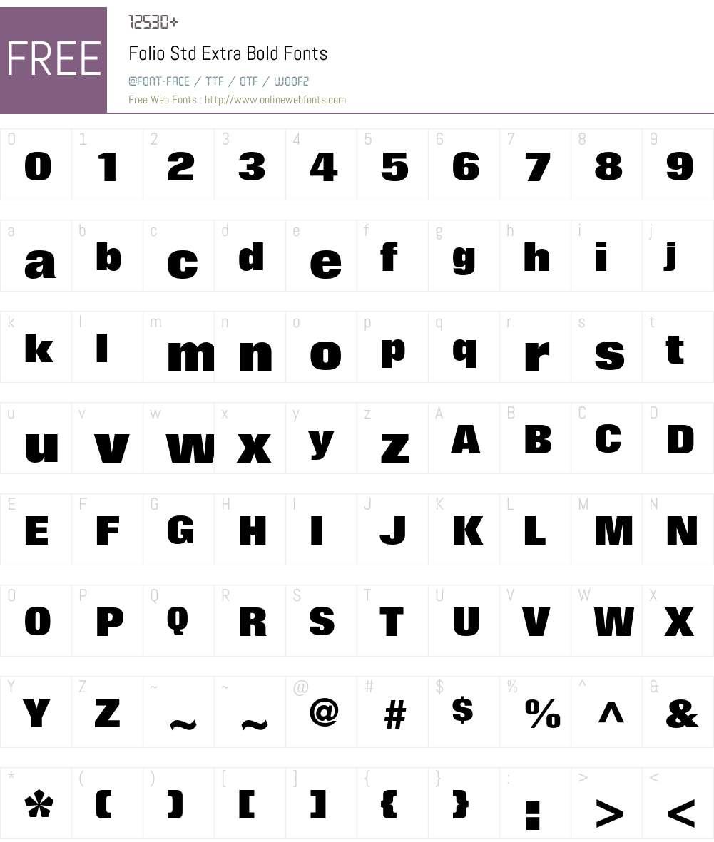 Folio Std Font Screenshots